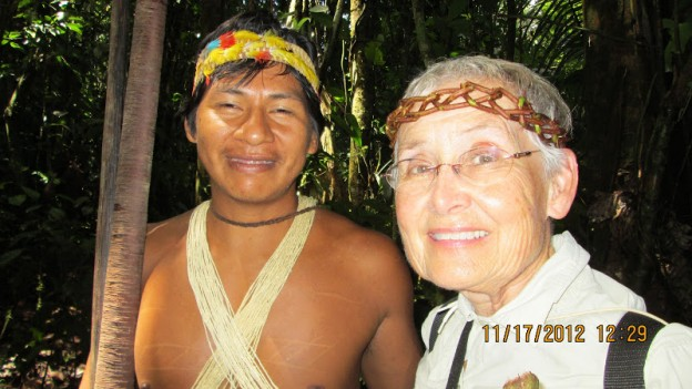 Helen With Mancaye, her Huao Guide, at the Huoarani Ecolodge