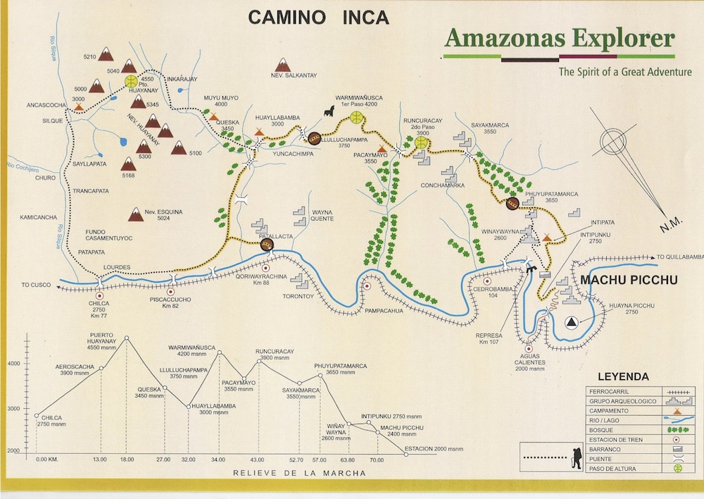 Inca Trail Map and Elevation (the yellow dotted line is the classic 4 or 5 day Inca Trail route)