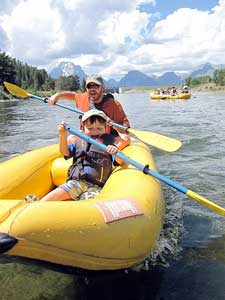 Greg Findley and son kayaking in the Tetons