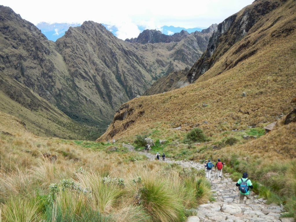 The descent from Dead Woman's Pass on the Inca Trail