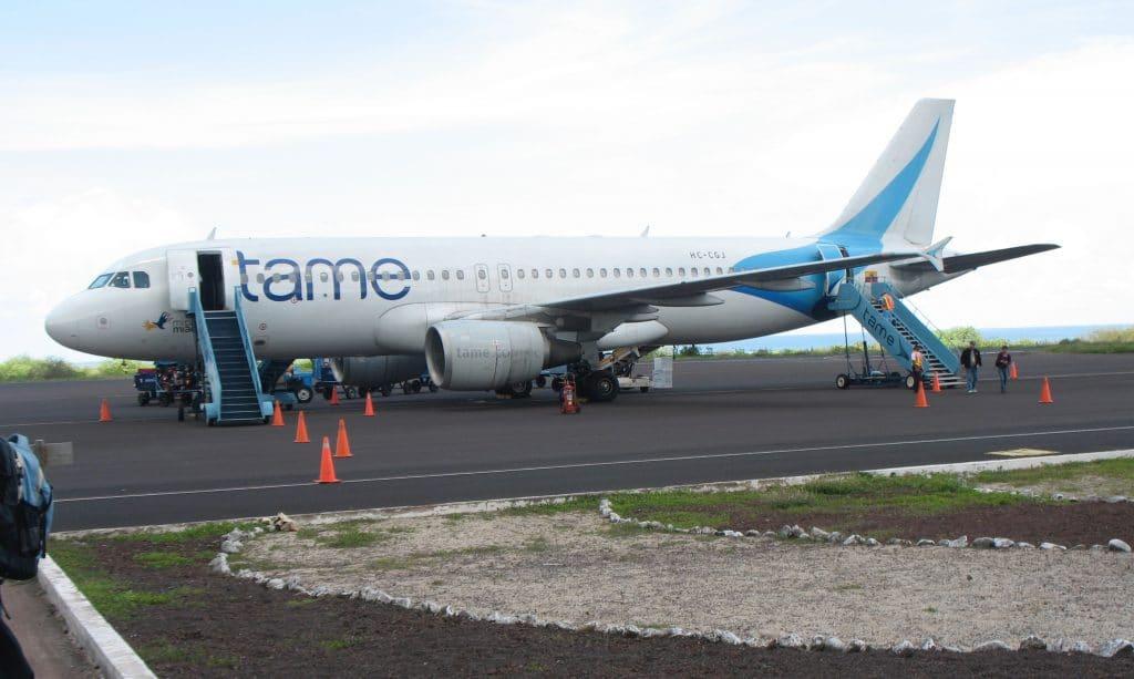 TAME flight at Baltra, Galapagos