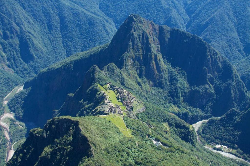 The view from Machu Picchu Mountain, looking down on the ruins and Huayna Picchu.